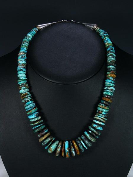 Native American Single Strand Turquoise Disc Necklace