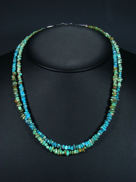 Native American Indian Jewelry Double Strand Fox Turquoise Necklace