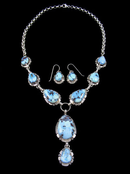 Golden Hill Turquoise Sterling Silver Lariat Necklace Set