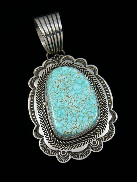 Native American Number Eight Turquoise Sterling Silver Pendant