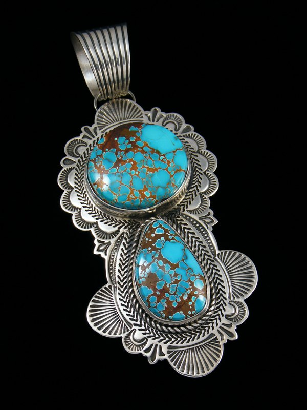 Native American Natural Dragonfly Turquoise Sterling Silver Pendant