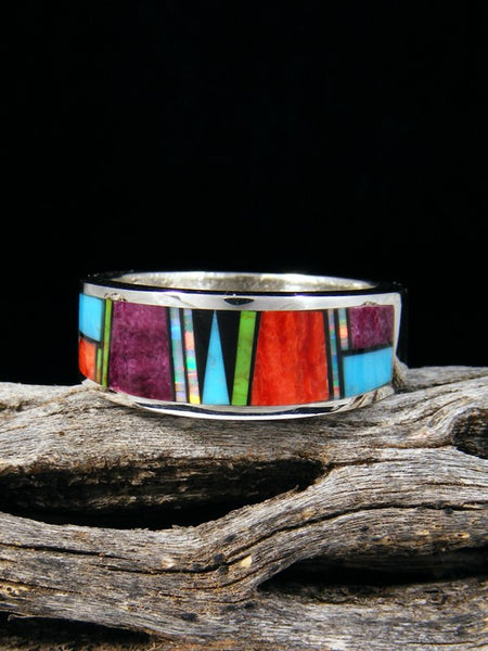 Spiny Oyster, Opal, and Turquoise Inlay Ring, Size 9