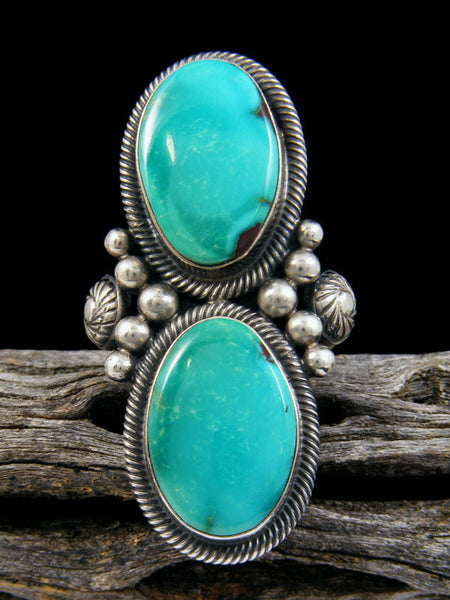 Native American Turquoise Two Stone Ring, Size 8