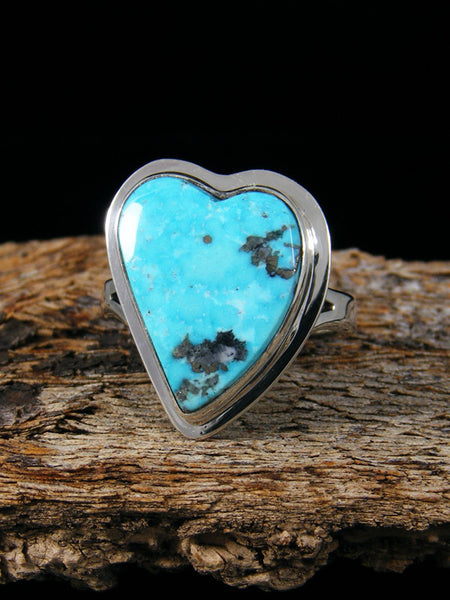 Kingman Turquoise Heart Ring, Size 7 1/4