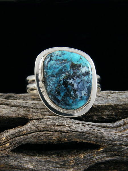 Blue Diamond Turquoise Ring, Size 9