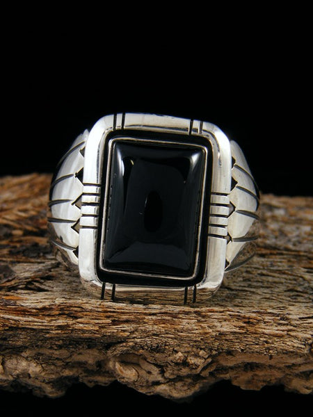 Black Onyx Sterling Silver Ring, Size 10 1/2