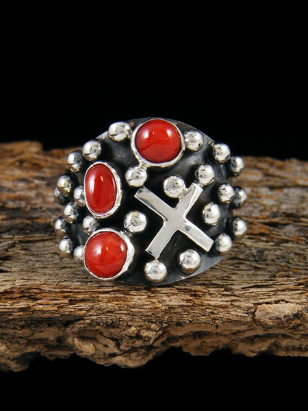 Navajo Cross Coral Ring, Size 7 1/2