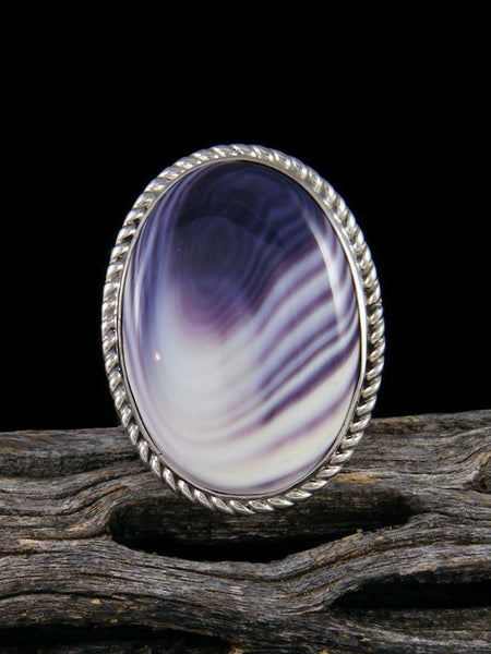 Sterling Silver Wampum Shell Ring, Size 8