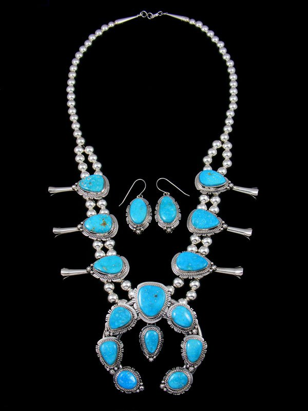 Native American Kingman Turquoise Squash Blossom Necklace Set