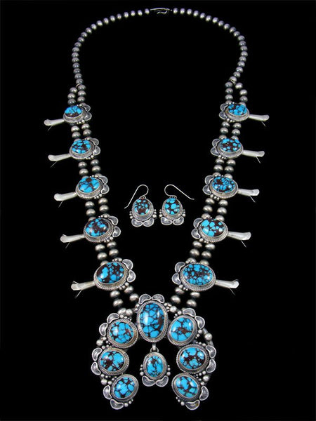 Egyptian Web Turquoise Squash Blossom Necklace Set