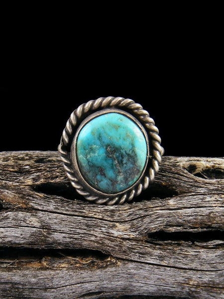 Estate Sterling Silver Turquoise Ring, Size 4