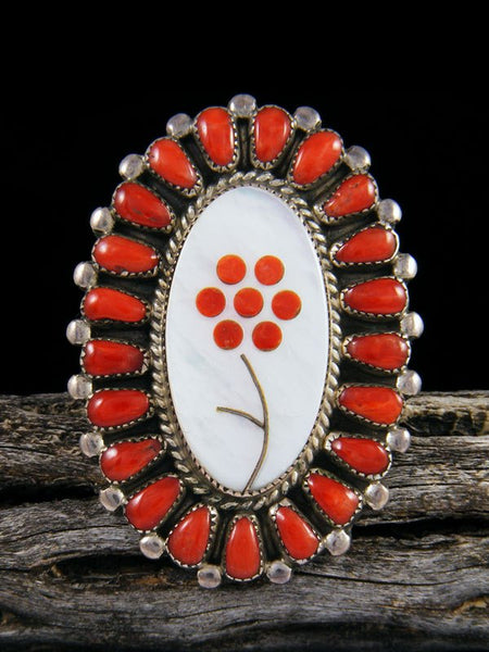 Estate Sterling Silver Zuni Coral Inlay Ring, Size 9
