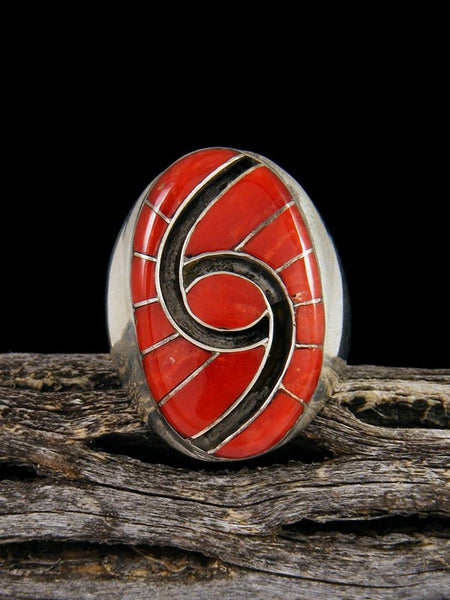 Natural Coral Zuni Inlay Ring, Size 10