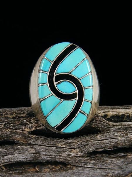 Natural Turquoise Zuni Inlay Ring, Size 10 1/4