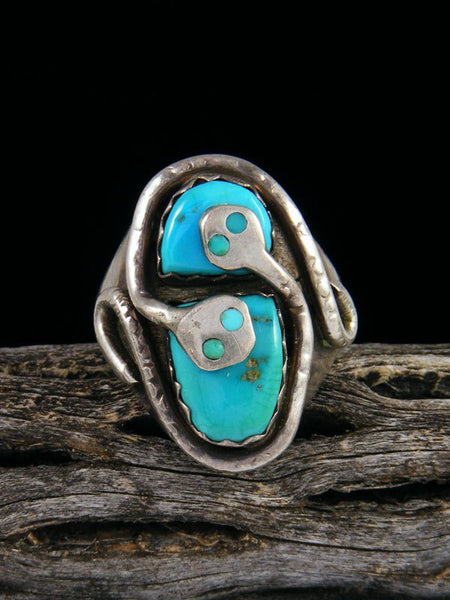 Vintage Zuni Sterling Silver Turquoise Ring, Size 11 1/2