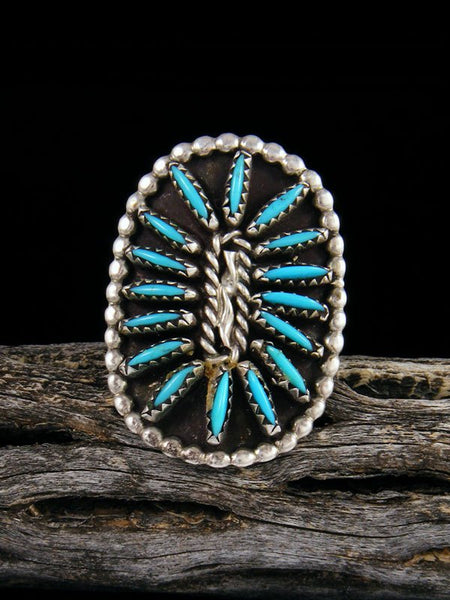 Vintage Sterling Silver Zuni Turquoise Ring, Size 7 1/2