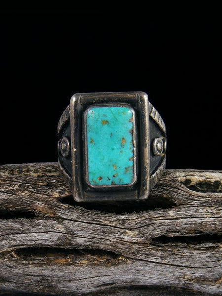 Estate Sterling Silver Turquoise Ring, Size 7 1/2