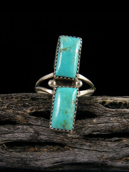 Estate Sterling Silver Turquoise Ring, Size 8