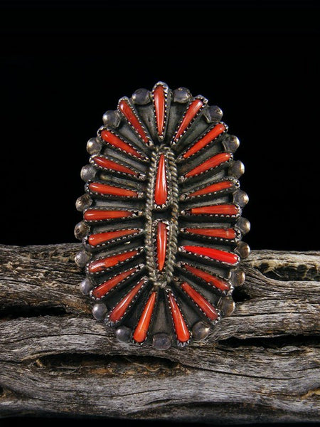Estate Sterling Silver Zuni Coral Ring, Size 8 1/2