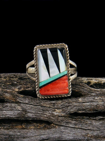 Estate Native American Sterling Silver Multistone Inlay Ring, Size 5 1/2