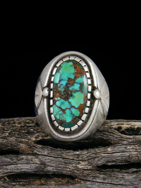 Estate Sterling Silver Turquoise Ring, Size 8 1/2