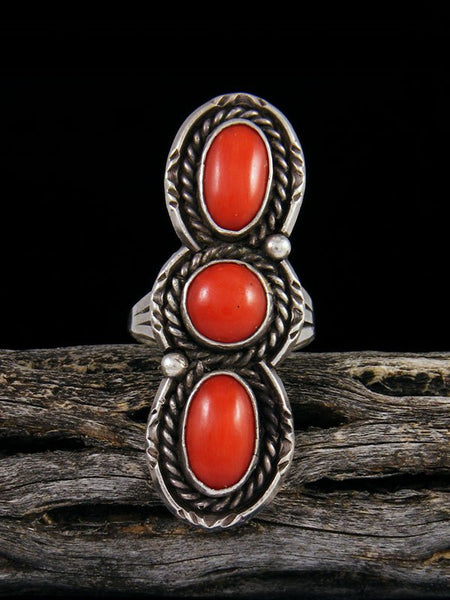 Estate Sterling Silver Coral Ring, Size 7