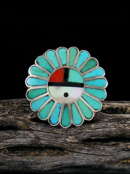 Vintage Zuni Sterling Silver Sunface Inlay Ring, Size 7