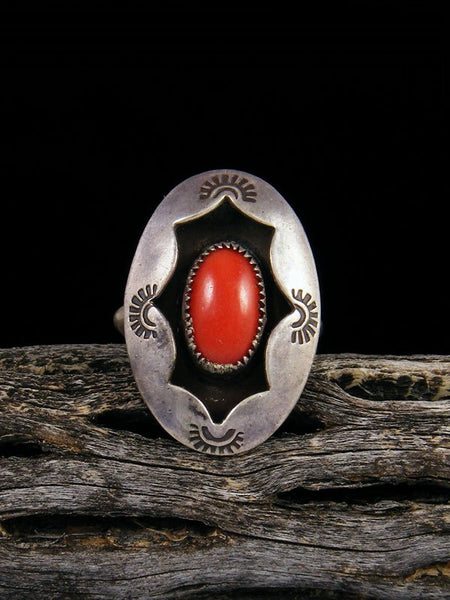 Estate Sterling Silver Coral Ring, Size 6 1/2