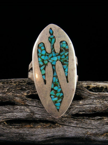 Estate Sterling Silver Turquoise Chip Inlay Ring, Size 8 1/2