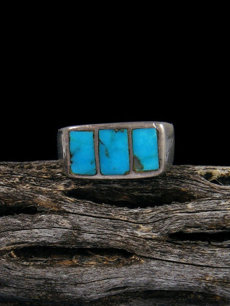 Estate Sterling Silver Turquoise Inlay Ring, Size 7 1/2