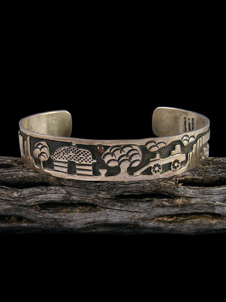 Old Native American Sterling Silver Storyteller Bracelet