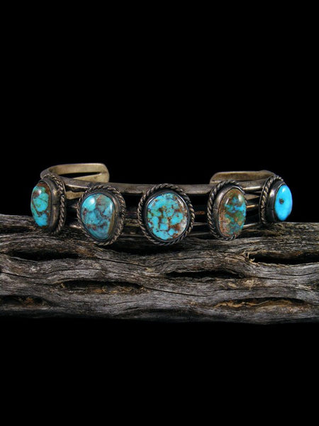 Old Native American Sterling Silver 5 Stone Turquoise Bracelet
