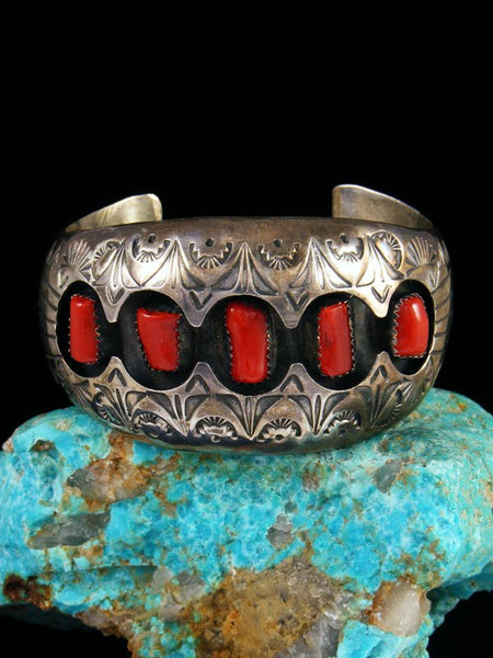 Estate Native American Jewelry Sterling Coral Shadowbox Bracelet