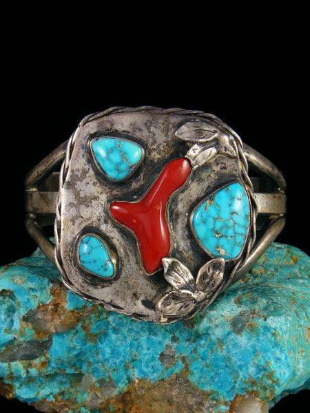 Old Native American Turquoise and Coral Sterling Silver Bracelet