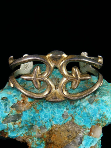 Old Native American Sterling Silver Sandcast Cuff Bracelet