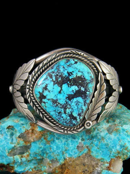 Estate Vintage Native American Sterling Silver Turquoise Bracelet
