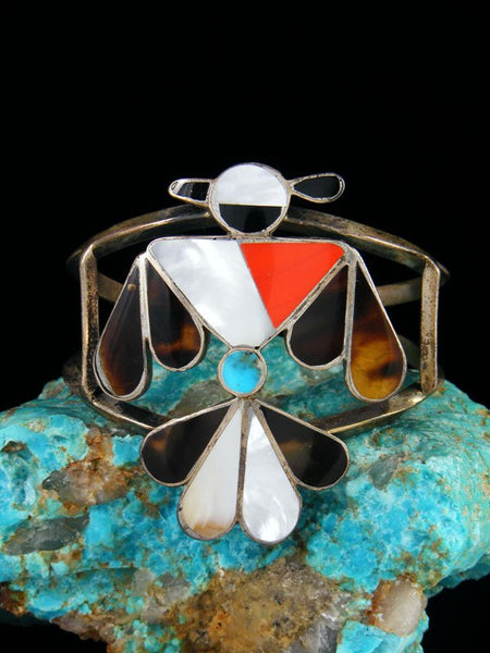 Old Indian Zuni Inlay Sterling Silver Thunderbird Bracelet