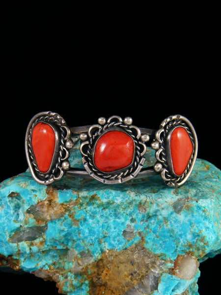 Old Pawn Native American Natural Coral Sterling Silver Bracelet