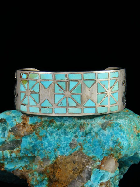 Estate Native American Sterling Silver Turquoise Inlay Cuff Bracelet