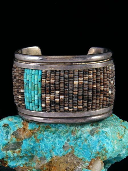 Estate Native American Turquoise and Heishi Beaded Inlay Bracelet