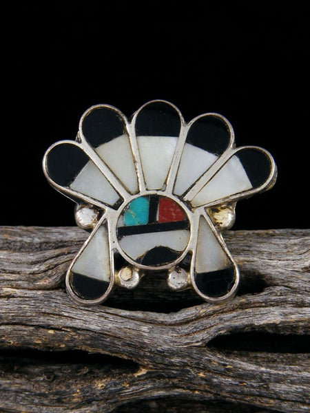 Vintage Native American Sterling Silver Zuni Inlay Sunface Ring, Size 5 1/2