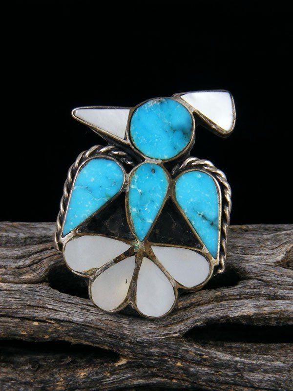 Old Zuni Native American Sterling Silver Inlay Ring, Size 6.5