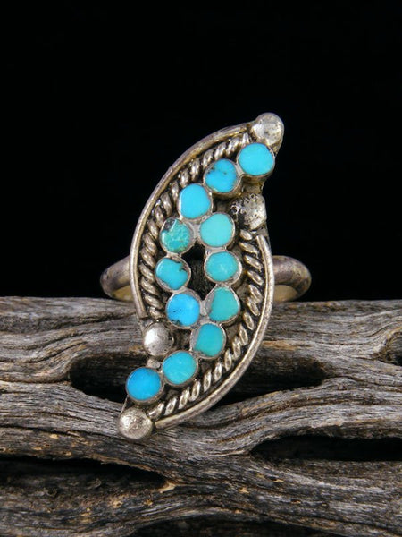 Vintage Native American Sterling Silver Turquoise Ring, Size 6