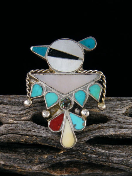 Estate Native American Sterling Silver Zuni Inlay Thunderbird Ring, Size 7