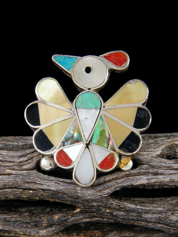 Estate Native American Sterling Silver Zuni Inlay Thunderbird Ring, Size 8