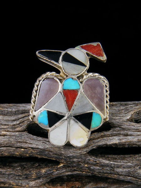 Old Pawn Native American Sterling Silver Zuni Inlay Thunderbird Ring, Size 6 1/2