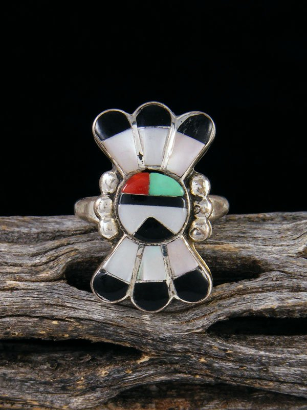 Vintage Native American Sterling Silver Zuni Inlay Sunface Ring, Size 4 3/4