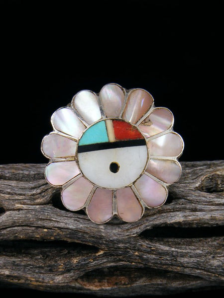Estate Native American Sterling Silver Zuni Inlay Sunface Ring, Size 6 1/2