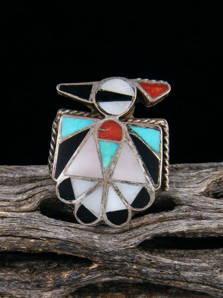 Vintage Native American Sterling Silver Zuni Inlay Thunderbird Ring, Size 6