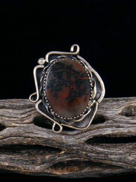 Old Pawn Native American Sterling Silver Petrified Wood Ring, Size 5 1/2
